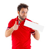 Man showing placard Royalty Free Stock Image