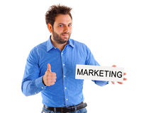 Man showing placard marketing Royalty Free Stock Images