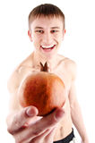 man showing pomegranate Stock Image