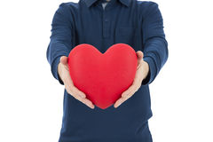 Man showing a red heart Royalty Free Stock Photography