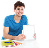 Man showing screen of digital tablet. Handsome Man showing screen of digital tablet Stock Images