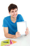 Man showing screen of digital tablet. Handsome Man showing screen of digital tablet Royalty Free Stock Photography