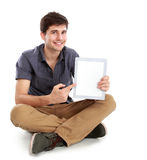 Man showing screen of digital tablet Royalty Free Stock Photos