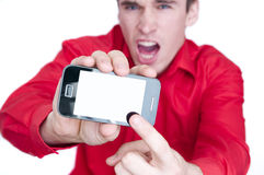 Man showing smart phone Stock Photos