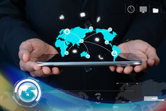 Man showing social network concept in tablet Royalty Free Stock Photo