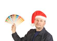 Man showing some color samples Royalty Free Stock Photo