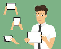 Man showing something displayed on tablet pc Royalty Free Stock Photography