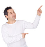 Man showing something on the palm Stock Image