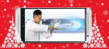 Man showing the speed of 4G Royalty Free Stock Image