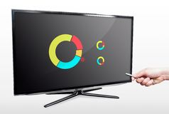 Man showing stock chart on TV screen Stock Photos