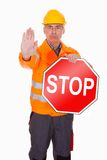 Man Showing Stop Sign Stock Images