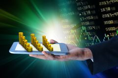 Man showing  tablet computer with financial stock market data. Digital illustration of Man showing  tablet computer with financial stock market data Stock Photos