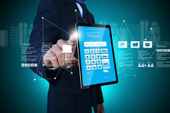 Man showing tablet pc Royalty Free Stock Images
