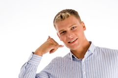 Man Showing Telephone Gesture Royalty Free Stock Photo