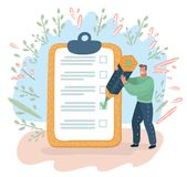 Man showing things list task. vector illustration