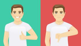 Man showing thumb up and thumb down. Vector illustration royalty free illustration
