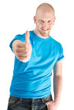 Man showing thumb up isolated on white Stock Images