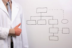Man showing thumbs up. Man in a white lab coat showing thumbs up while standing next to a drawing of a plan Royalty Free Stock Images