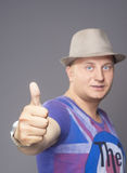 Man Showing Thumbs up sign Royalty Free Stock Photo