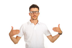 Man showing to blank t-shirt Royalty Free Stock Photos