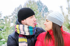 Man showing tongue in winter forest Royalty Free Stock Image
