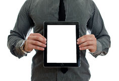 Man showing touch screen tablet pc. With blank screen. Isolated on white Stock Images