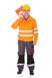 Man Showing Traffic Cone Stock Photos
