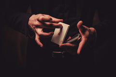 Man showing tricks with cards Stock Image