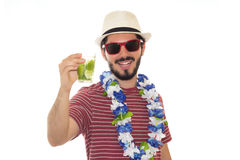 Man showing tropical drink made of lemons. Stock Photo