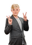 Man showing victory sign Stock Images
