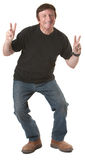 Man Showing Victory Symbol Stock Photography