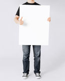 Man showing white blank board and thumbs up Royalty Free Stock Photo
