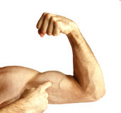 A man shows arm strength. On a white background Stock Images