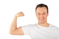 Man Shows Biceps Stock Photography