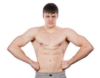 Man shows biceps Royalty Free Stock Image