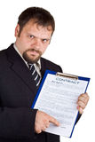 The man shows on a contract. The man shows on a contract, isolated on white Royalty Free Stock Photo