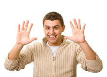 Man shows a different gestures Royalty Free Stock Photos