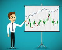 Man shows a financial graphs and charts on flipchart. royalty free stock photography