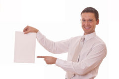 Man shows finger on blank paper Stock Images
