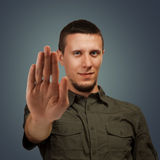 Man shows gesture stop Stock Images