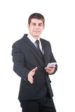Man shows hand sign Royalty Free Stock Images