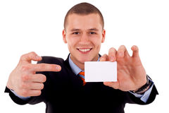 Man shows his business card Stock Photo
