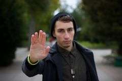 Man shows his hand royalty free stock photography