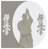 The man shows karate on a gray background. Stock Photos