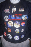 Man shows off Clinton/Gore buttons on sweater after victory announcement in Little Rock Arkansas, 1992 Stock Photos