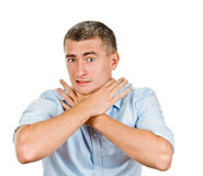 Man shows sign asphyxiation Royalty Free Stock Photo