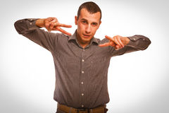 Man shows sign hippie freedom peace, Stock Images