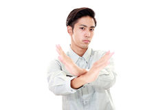 Man shows the sign of prohibition Stock Photo