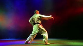 The man shows technique of karate on a background with colored smoke. HD stock video footage