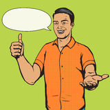 Man shows thumb gesture pop art vector Royalty Free Stock Photography
